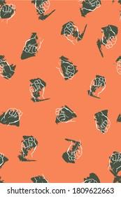 Fist Hands on orange background
