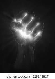 Fist holding light