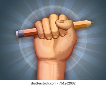Fist holding a pencil as a symbol of freedom. Digital illustration.