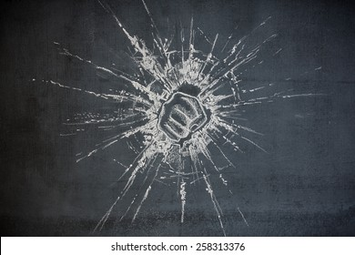 fist punching through glass breaking through illustration on a chalk board background showing power and strength