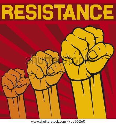 Fist Symbol Resistance Poster Stock Illustration Royalty Free