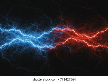 Fite and ice lightning bolt, abstract plasma and power background