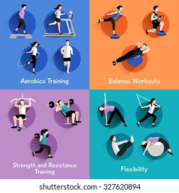 Fitness aerobic strength and body shaping exercises 4 flat icons square composition banner abstract isolated  illustration