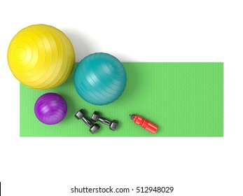 Fitness ball, dumbbells and plastic water bottle on green yoga mat. Top view. 3D render illustration isolated on white background