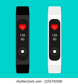 Fitness bracelet with counter, pulse and calories. Smart bracelet for sport, wrist fitness tracker device. illustration