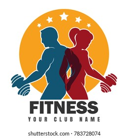 Fitness club emblem with muscled man and woman silhouettes. Man and woman holds dumbbells.  illustration