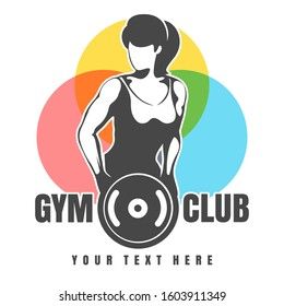 Fitness club or Gym emblem in retro style. Athletic Woman holds Weight plate.