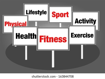Fitness concept signs