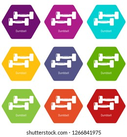 Fitness dumbbell icons 9 set coloful isolated on white for web