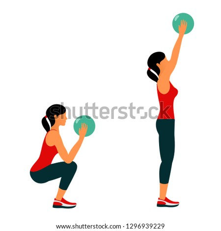 Fitness Exercises Strong Beautiful Body Fitness Stock Illustration