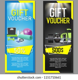 Fitness gift voucher template set. Illustration. Gift certificate, discount coupon, voucher mockup set for gym, fitness club or center. Fitness business promo offer cards.