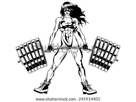 054f060d7b20 Royalty Free Stock Illustration of Fitness Girl Bikini Holding Heavy ...