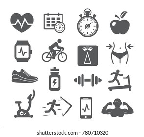 Fitness and Gym icons set on white background