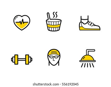 Fitness gym services. Line icons set on the white background