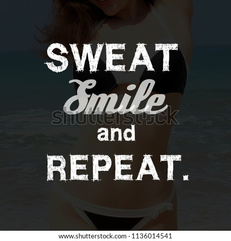 Fitness Motivation Quotes Sweat Smile Repeat Stock Illustration