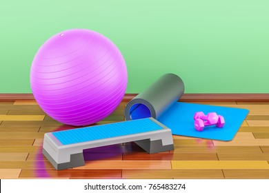 Fitness and sports equipment concept. Aerobic step board, yoga mat, dumbbells and fitball 3D rendering