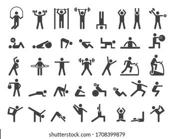 Fitness symbols. Sport exercise stylized people making exercises icon