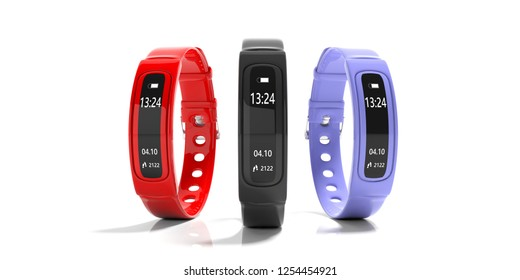 Fitness and technology, healthy lifestyle. Fitness tracker, smart watch, black, red and blue, isolated on white background. 3d illustration