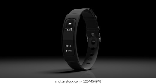 Fitness and technology, healthy lifestyle. Fitness tracker, smart watch, black, on black background, copy space. 3d illustration
