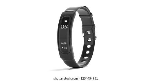 Fitness and technology, healthy lifestyle. Fitness tracker, smart watch, black, isolated on white background. 3d illustration