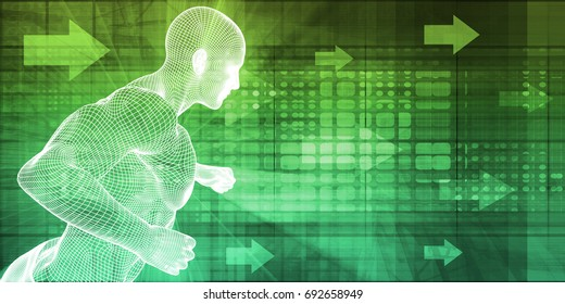 Fitness Technology and Sports Monitoring Data Concept Background 3D Illustration Render