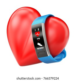 Fitness tracker on the heart  icon - 3D illustration