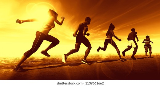 Fitness Training Together in a Group of Athletes 3D Render