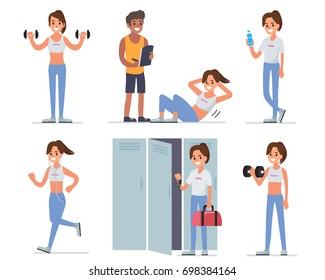 Fitness woman training in gym. Flat style illustration isolated on white  background.