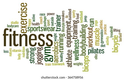 Fitness word cloud. Workout typography background.