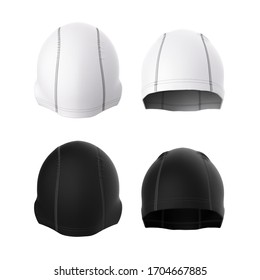 A fitted cap made of fabric. For swimming, sports, running, biking. Front and back view. Sportswear, headwear. Blank template in white and black. 3d render.