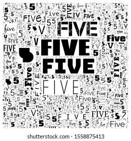 five (5) number word cloud, word cloud use for banner, painting, motivation, web-page, website background, t-shirt & shirt printing, poster, gritting, wallpaper (illustration)