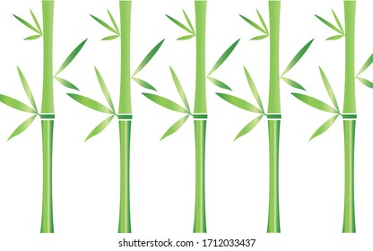 Five bamboo stalks with white background
