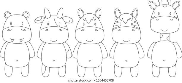 Five cartoon animals (hippo, cow, horse, zebra, giraffe) vector images for coloring book