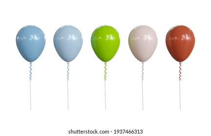Five colorful balloons isolated on white background, 3d illustration.