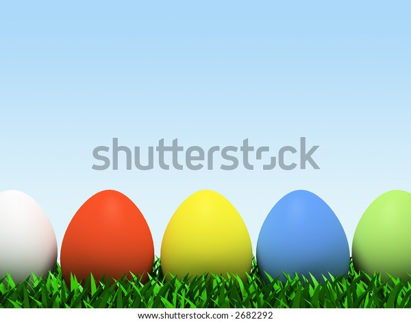 Five colorful eggs in row isolated on white background