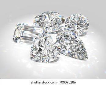 Five diamond of the most popular cutting styles: round brilliant, emerald, pear, heart, oval. Close-up detailed top view on white background. 3D rendering illustration