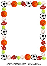 7568abe1e540 Five different sport balls border   frame on white background.
