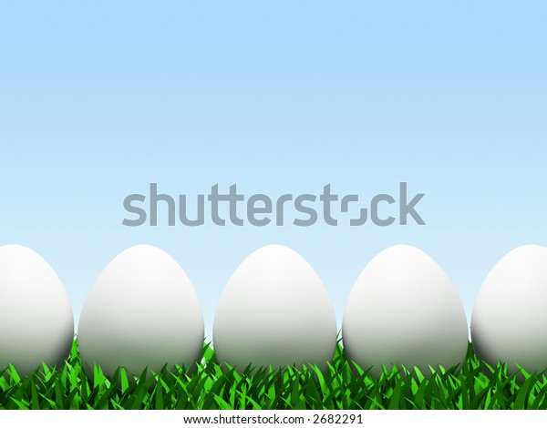 Five eggs in row isolated on white background