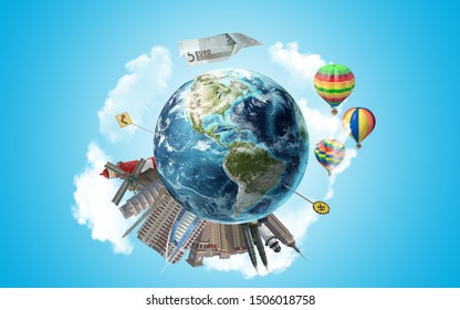 Five Euro Note is flying in the sky while 3d render of Earth globe with office skyscrapers, landmarks, traffic and road signs standing on it. 3D Rendering.