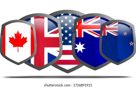 Five Eyes anglophone intelligence alliance comprising Australia, Canada, New Zealand, the United Kingdom and the United States, 3d rendering