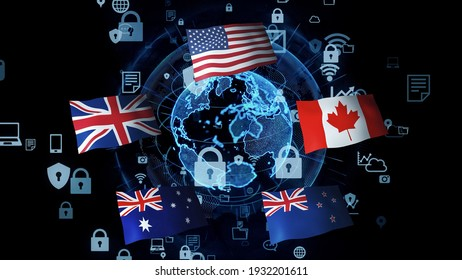 Five Eyes concept. United Kingdom – United States of America Agreement.