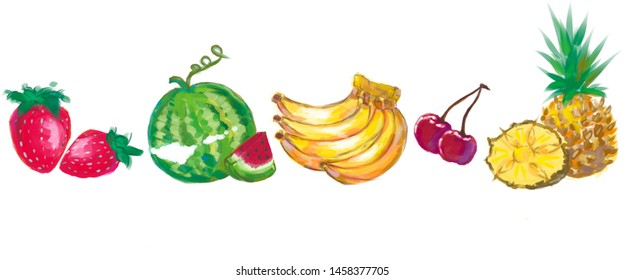five fruits on white background graphics