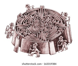 Five gentlemen are looking for a way to the center of the labyrinth. Which way is correct?