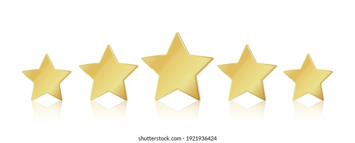Five gold stars. 5 star rating realistic leadership symbol. Glossy yellow metallic winner champion rating.  illustration stars restaurant or hotels satisfaction quality service