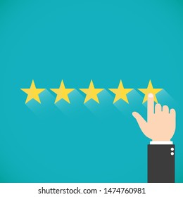 Five gold stars with hand. Finger presses the star. Assessment for web sites