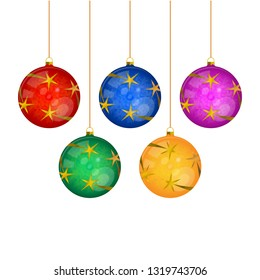 Five Hanged Multi-colored Christmas Tree Balls Isolated on White. Realistic Illustration.