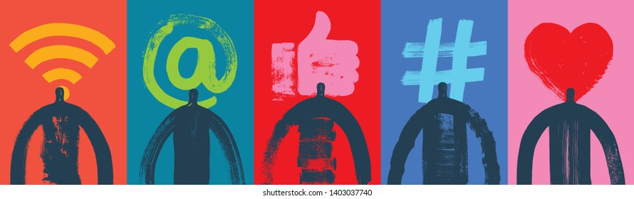 Five Head and Shoulders Silhouettes, Social Media Symbols, Grunge Texture, Colorful, Illustration, Google Analytics, Adwords, Internet Community, Networking, Marketing, Snapchat, Instagram, Banner