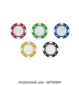 five isolated colorful fiches