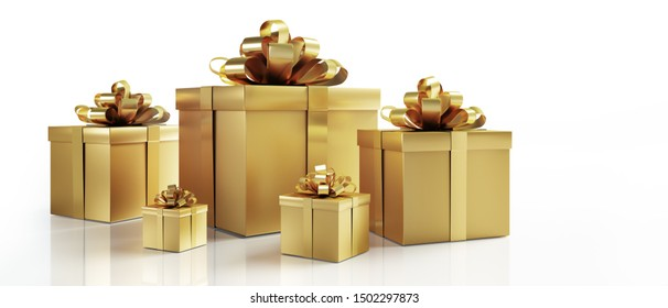 Five isolated golden gift boxes with white background - 3D illustration