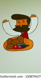 Five loaves of bread, two fish, Jesus